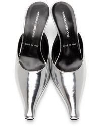 Kwaidan Editions Metallic Pointy Toe Kitten Heel Mule