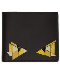 Fendi Portefeuille noir et jaune Digital Bag Bugs Classic