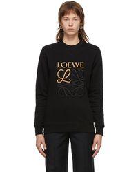 Loewe - ブラック エンブロイダリー アナグラム スウェットシャツ - Lyst