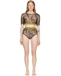Off-White c/o Virgil Abloh Ssense Exclusive Black And Yellow Lace Two-piece Bodysuit