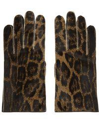 Raf Simons Brown Leather Animal Print Gloves