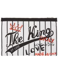 Dolce & Gabbana - White And Black The King Pouch - Lyst