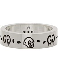 Gucci Silver Trouble Andrew Edition Slim 'ghost' Skull Ring - Metallic