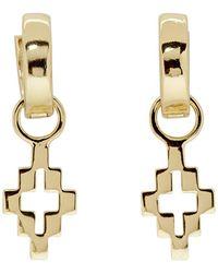 Marcelo Burlon Gold Cross Drop Earrings - Metallic
