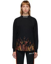 Palm Angels ブラック Flames ロゴ ロング スリーブ T シャツ