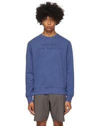 Saturdays NYC インディゴ Bowery Miller クルーネック スウェットシャツ - ブルー