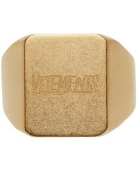 Vetements ゴールド Scratched ロゴ リング - メタリック