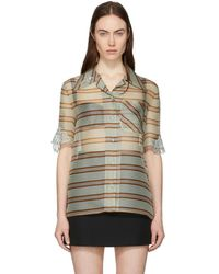 Fendi - Multicolour Sheer Striped Palm Shirt - Lyst