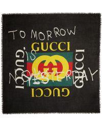 Gucci - Black 'tomorrow' Logo Shawl - Lyst
