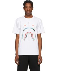 A Bathing Ape White Patchwork Shark T-shirt