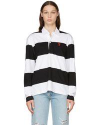 AMI ブラック & ホワイト ボーダー Ami De Cœur ロング スリーブ ポロシャツ