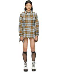 SJYP ブルー & ブラウン チェック シャツ ドレス