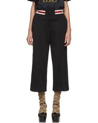 Gucci - Black Elastic Logo Cropped Trousers - Lyst