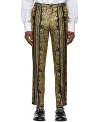 Dolce & Gabbana Black And Gold Jacquard Trousers - Metallic