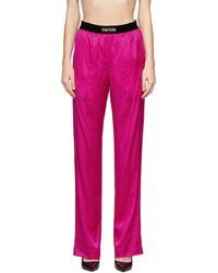 Tom Ford ピンク シルク ラウンジ パンツ