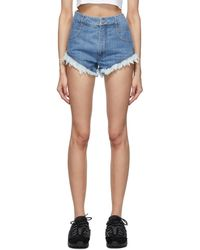 Telfar Short en denim bleu Cut-Off