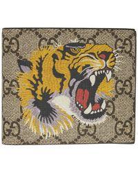 Gucci Portefeuille beige GG Supreme Tiger - Neutre
