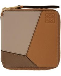 Loewe Tan Puzzle Square Zip Wallet - Brown