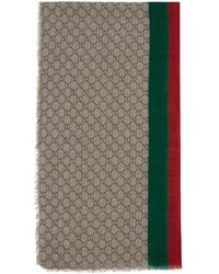 Gucci Beige Wool GG Web Scarf - Natural