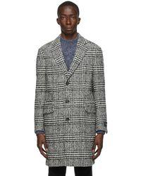 Z Zegna Wool Tweed Herringbone Galles Coat - Black