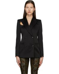 Versace - Black Satin Ring Blazer - Lyst