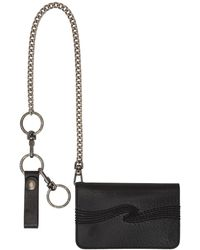 Nudie Jeans Black Leather Alfredsson Chain Wallet