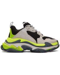 Balenciaga Gray And Yellow Triple S Sneakers - Multicolor