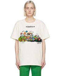 Gucci Off-white Disney Edition Garden Roses Donald Duck T-shirt