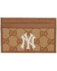Gucci - Ny Yankees Edition ベージュ And ブラウン スモール GG パッチ カード ホルダー - Lyst
