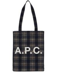 A.P.C. - ネイビー チェック Lou トート - Lyst
