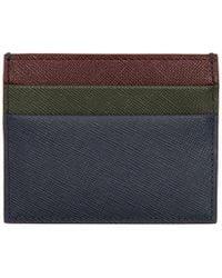Marni - Credit Card Holder In Blue, Green And Burgundy Saffiano Calfskin - Lyst