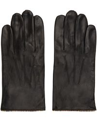 Paul Smith Black Leather Signature Stripe Gloves