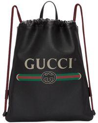 Gucci - Black Small Logo Drawstring Backpack - Lyst