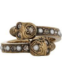 Alexander McQueen Gold Twin Skull Ring - Metallic