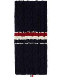Thom Browne Navy Mohair Aran Rwb Stripe Scarf - Blue
