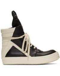 Rick Owens Black And Off-white Geobasket Sneakers