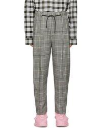 Juun.J - Black And Grey Plaid Trousers - Lyst