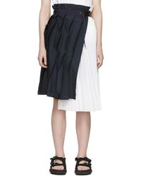 Sacai - Navy And White Pinstripe Skirt - Lyst