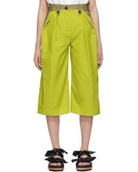 Sacai - Tan And Yellow Cropped Trousers - Lyst