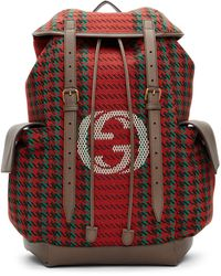 Gucci Houndstooth And Stripe Backpack With Inerlocking G - Red