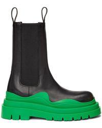 Bottega Veneta ブラック & グリーン The Tire チェルシー ブーツ