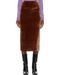 Georgia Alice Ssense 限定 ブラウン ベルベット パール スカート