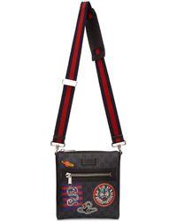 Gucci Black GG Supreme Courier Messenger Bag