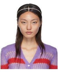 Miu Miu Silver Crystal Hairband - Purple