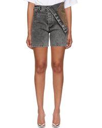 Y. Project - Black Denim Asymmetric Shorts - Lyst