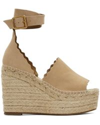 Chloé - Beige Suede Lauren Wedge Sandals - Lyst