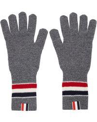 Thom Browne Gray Merino Rib Rwb Stripe Gloves