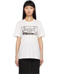Versace ホワイト ライセンス プレート T シャツ