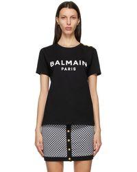 Balmain - ブラック And ホワイト ロゴ T シャツ - Lyst