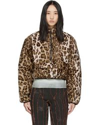 Ashley Williams Faux Leopard Fur Puffer Pullover Jacket - Brown